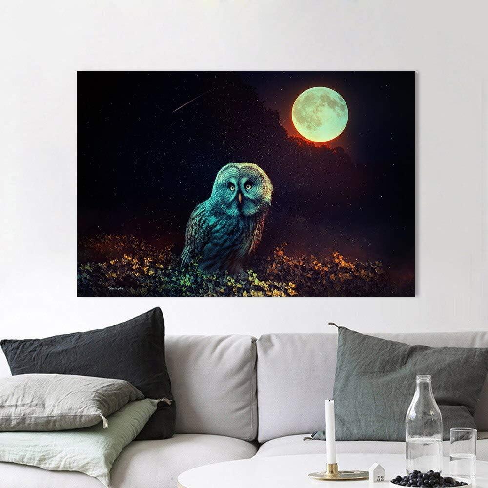 N / A Pintura sin Marco Decoración del hogar Lienzo Animal búho Bosque Luna Llena Cartel Pintura al óleo Mural Sala decoración Pintura ZGQ5944 40X60cm