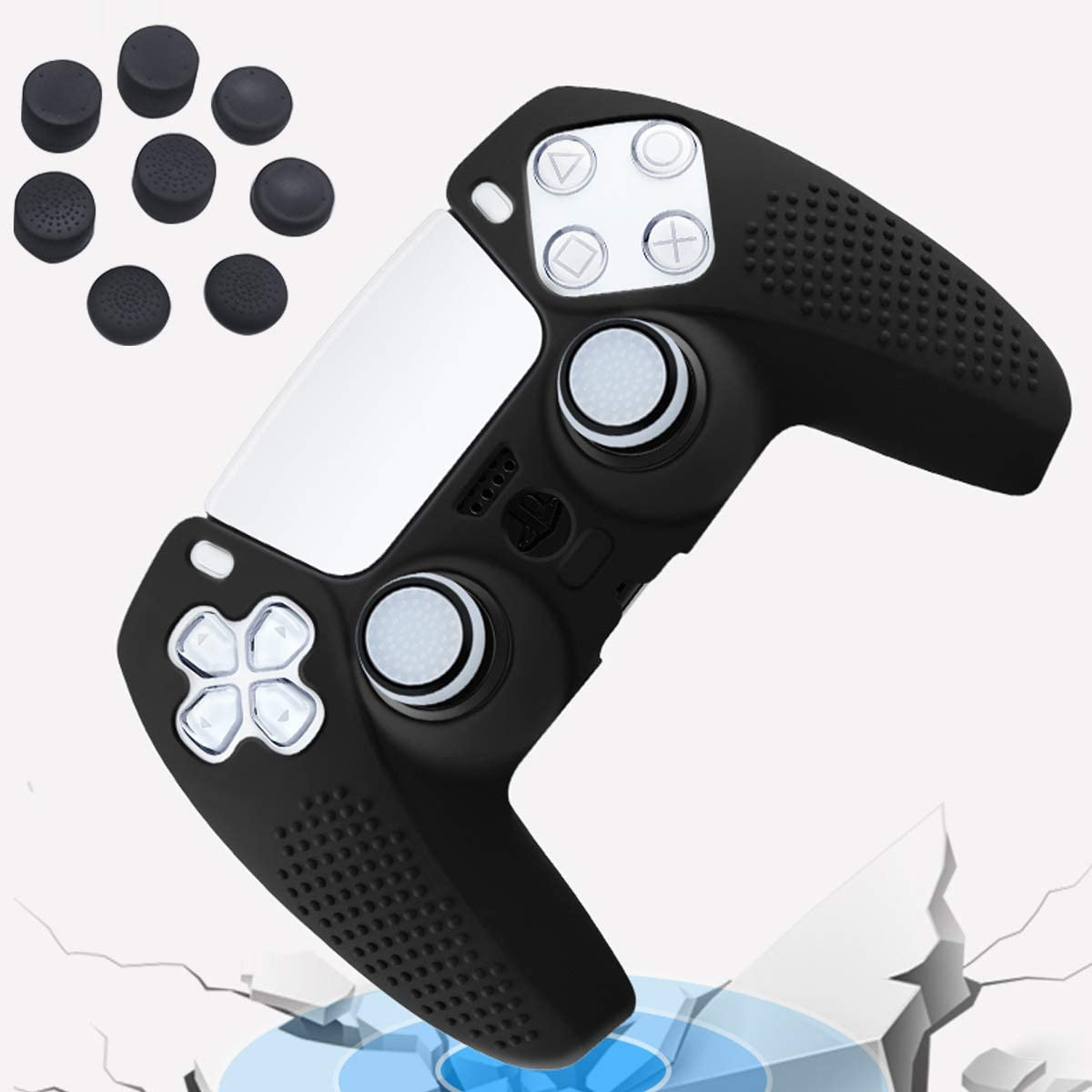 with Thumb Grips x 8 Ancable Silicone Cover Skin Case Protector Case Faceplates Kits for Playstation 5 Controller x 2 Black PS5 Controller Cover Skin Black 2 Pack