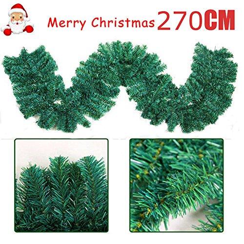cherry Juilt 9 Feet 2 Pcs Christmas Garland Decorations Outdoor Indoor Artificial Pine Wreath Xmas Decorations for Wall Door Stairs by cherry Juilt (Image #1)