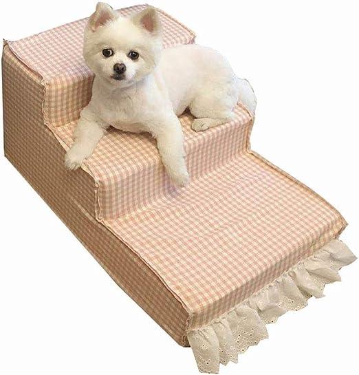 Escaleras para Mascotas Pasos Pasos 3 Pasos Escaleras para Gatos Y Perros Escalera Plataforma De Salto Cama para Mascotas Rosado Cuadrícula Encantador: Amazon.es: Productos para mascotas