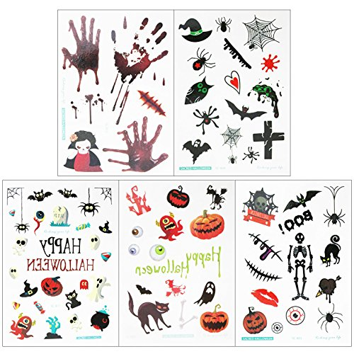 Halloween Theme Temporary Tattoo Stickers for Kids Adult - Funny Halloween Party Favors Supplies - 5 Sheets (Quick And Easy Halloween Makeup Ideas)