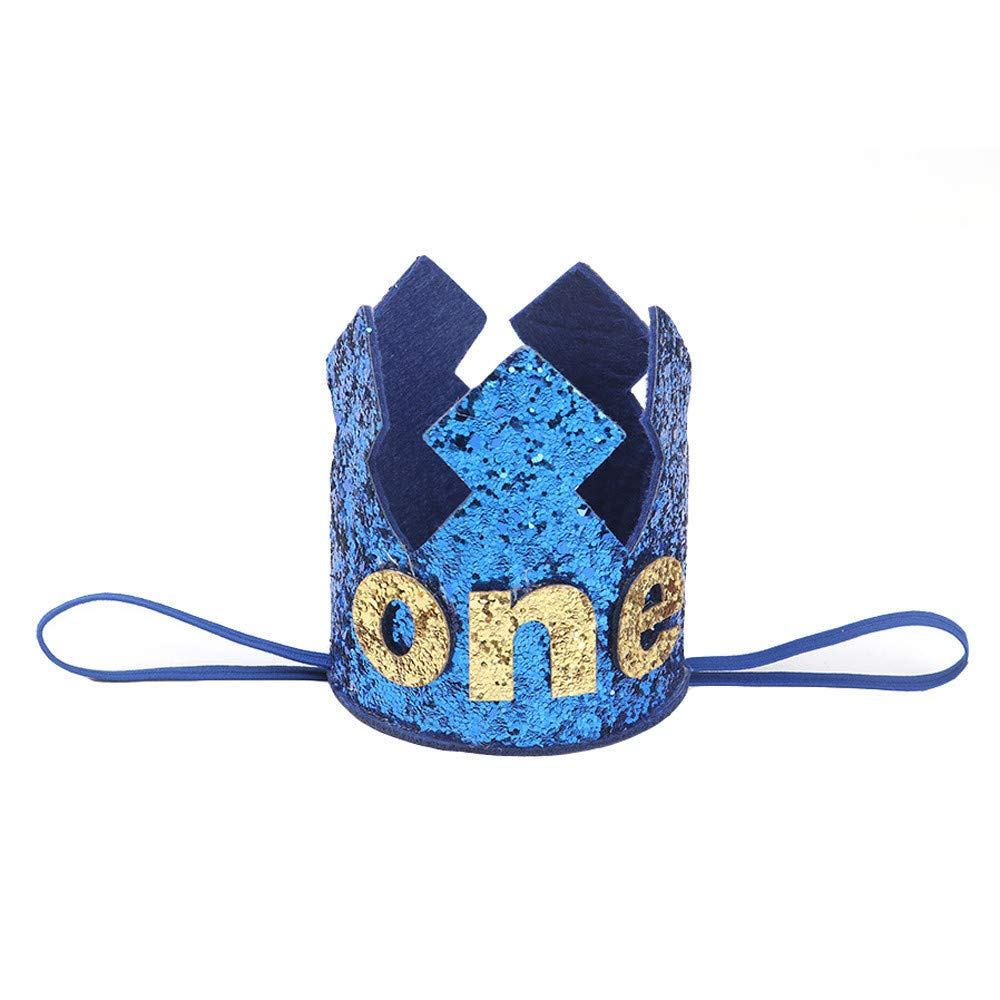 NUWFOR 1PC Boy Head Accessories Hairband Baby Elastic Brithday Number Crown Headwear(Blue,4)