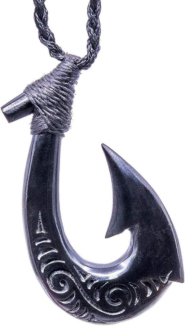 Stylized Maori Hawaiian Black Horn Fish Hook with Scrimshaw