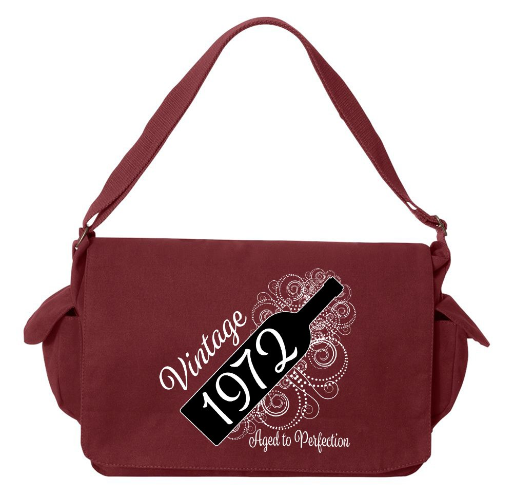 Tenacitee Born in 1972 - Aged Like a Fine Wine Maroon Brushed Canvas Messenger Bag