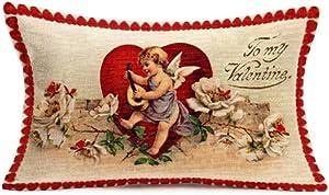SmilyardValentine's Day Cupid with Flower Cotton Linen Throw Pillow Cover Cushion Cover Pillow Case Cotton Linen Decor Men Women Home Sofa 12x20 Inch(C 32)