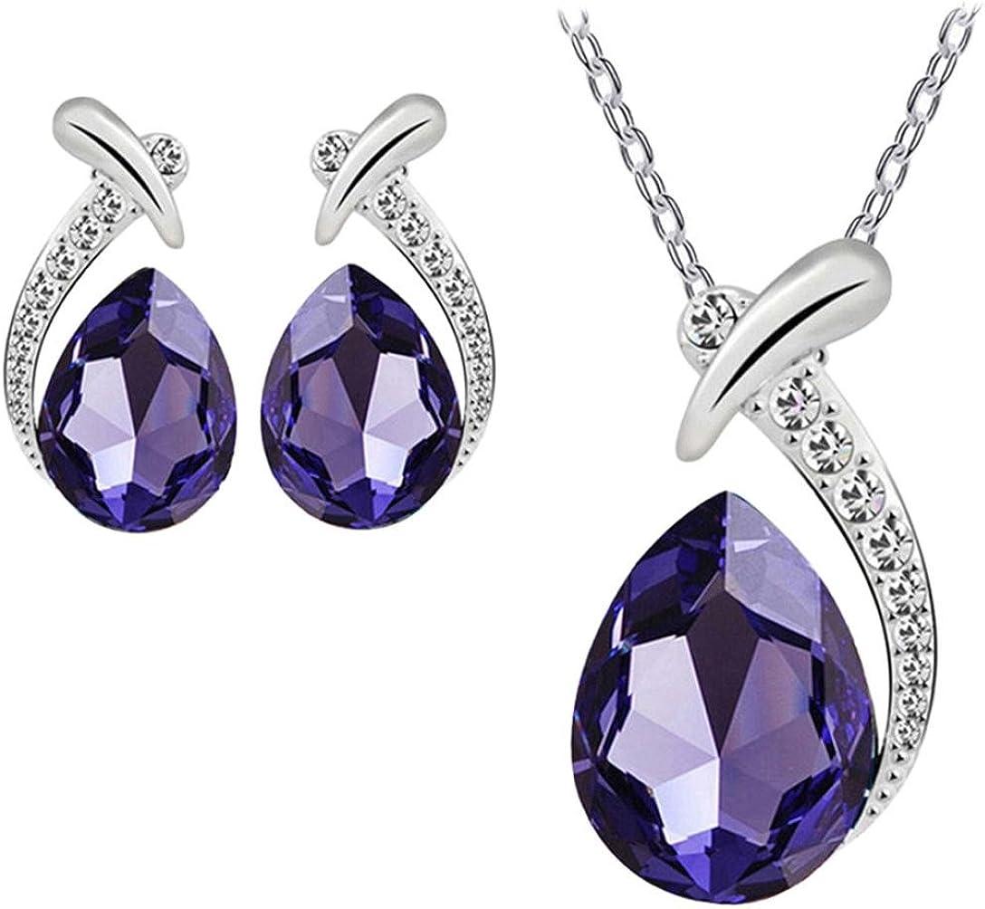 FAMILIZO Plata Cristal De Las Mujeres Plateado Pendiente De La Piedra Preciosa Brillante Cadena Sistema De La JoyeríA del Collar Pendiente del Perno (Púrpura)