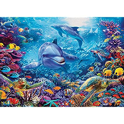 Cobble Hill Dolphins at Play Jigsaw Puzzle (1000 Piece): Toys & Games