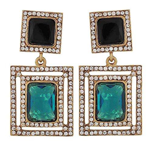 Maayra Sparkling Stones Earrings Black Green Dangler Drop Party Jewellery by Maayra