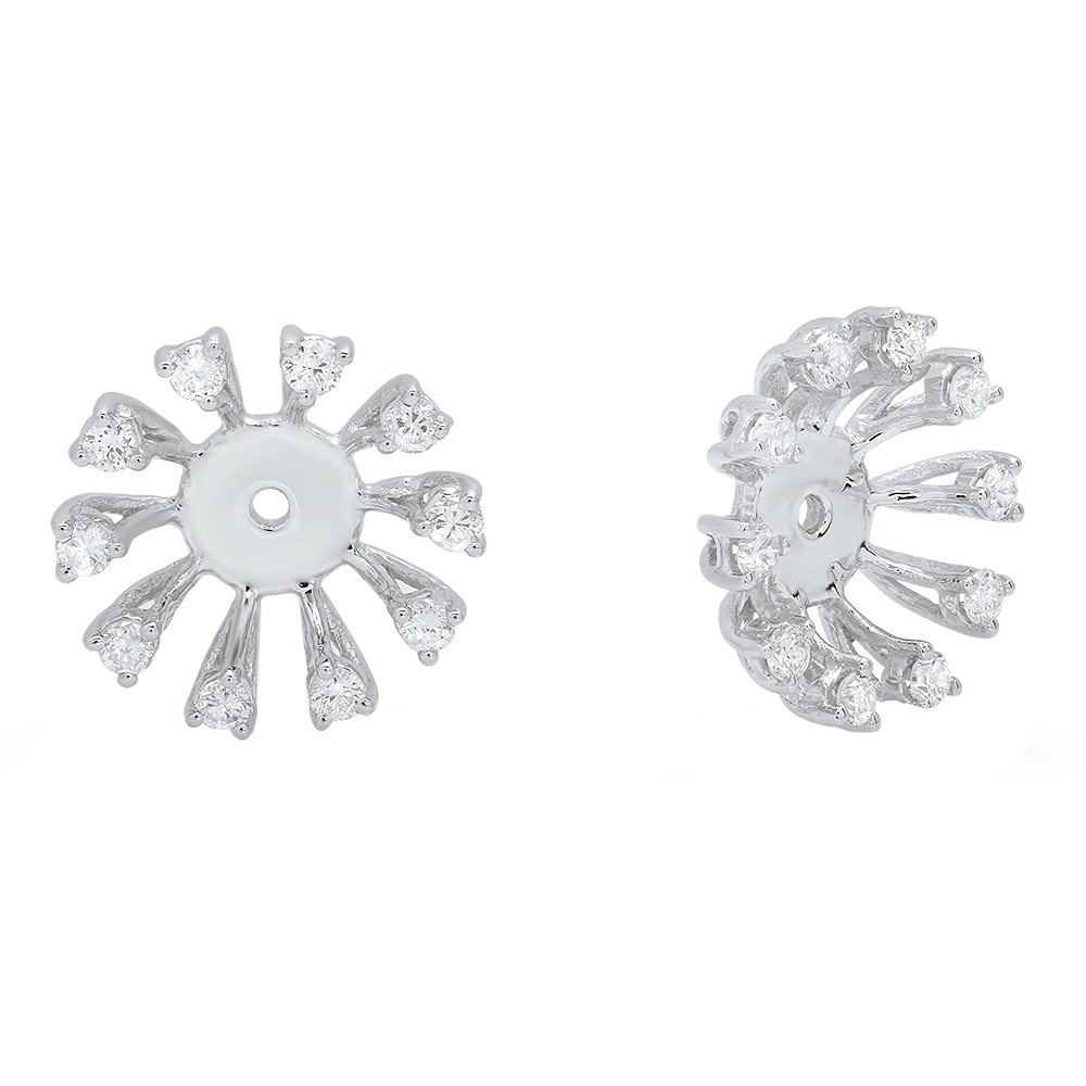 0.30 Carat (ctw) 14K White Gold Round Diamond Removable Jackets For Stud Earrings 1/3 CT