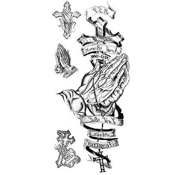 TAFLY Big Cross Tatuajes brazo impermeable grande temporales ...