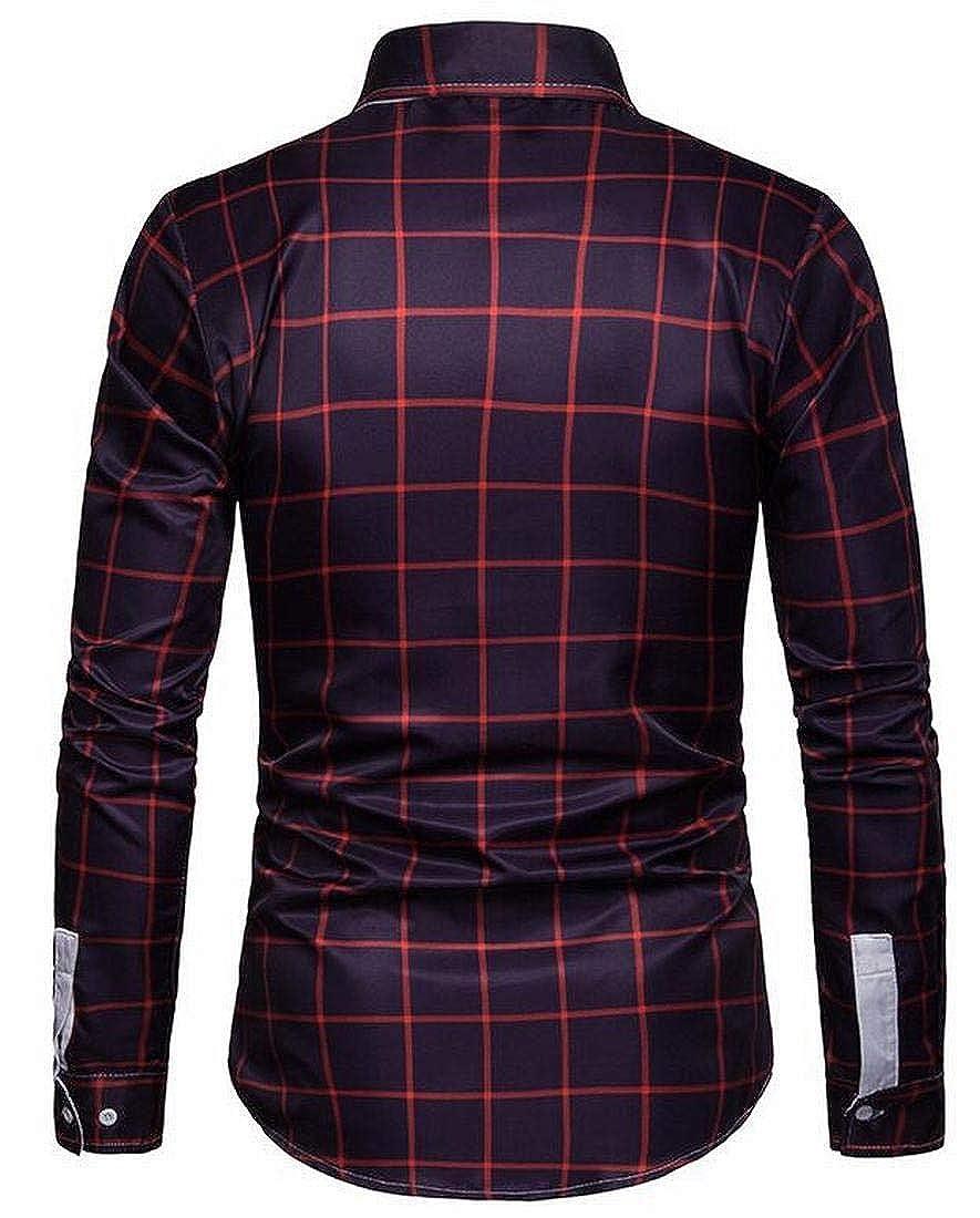YYG Mens Casual Business Button Up Long Sleeve Regular Fit Flannel Checkered Shirt