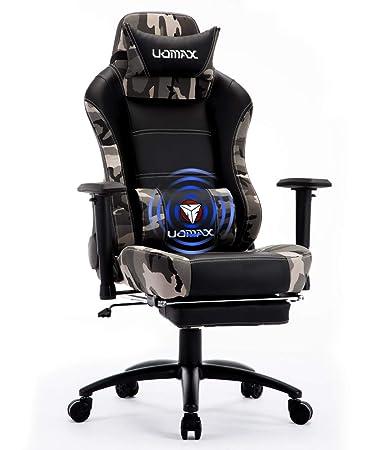Sedia Gaming Economica.Uomax Sedia Gaming Economica Poltrona Gamer Comoda Sedia Ufficio Racing Regolabile Con Massaggio Supporto Lombare E Poggiapiedi Camo