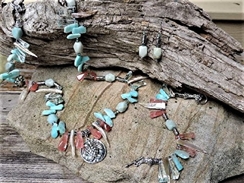 Silver Turtle Pendant, Amazonite, Cherry Quartz, Shell, Crystal & Pewter Necklace, Bracelet & Earrings
