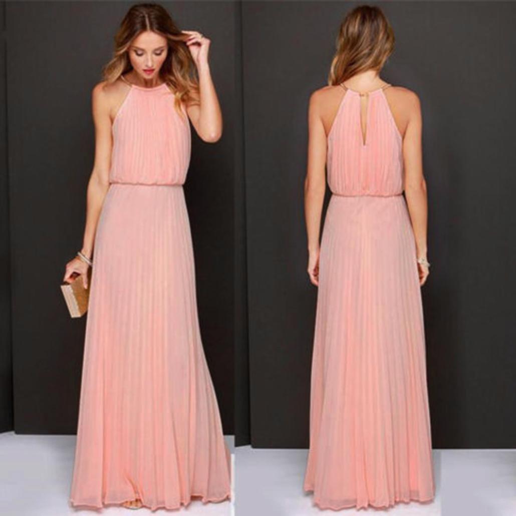 1da73c0bd17 Amazon.com  Balakie Ms. Solid Color Chiffon Sleeveless Halter Beach Dress  Evening Party Long Maxi Dresses (M