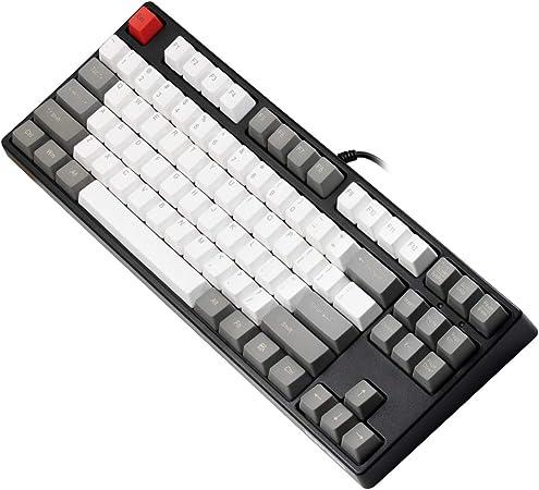 GANSS Teclado programable de 87 Teclas mecánicas con Tacto - Mezcla de Colores Teclas PBT de Doble Disparo - Teclado Cherry MX Brown Switches(QWERTY ...