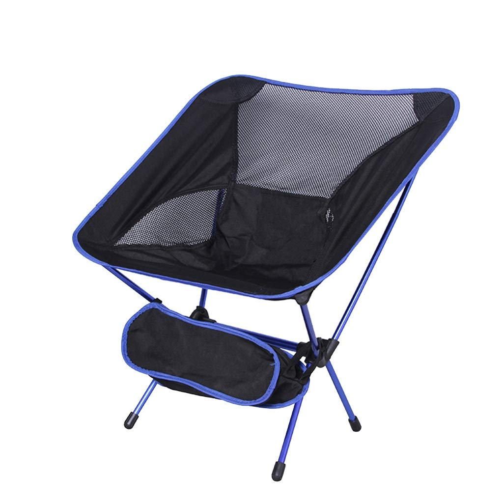 DWJ Camping Folding Beach Chair, Portable Lightweight Aluminum Tube Lazy Lounge Chair Fishing Chair, Load Bearing 120kg (Color : Blue) by DWJ
