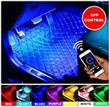 ELINKUME Car LED Strip Light, 4Pcs 48 LED DC 12V Multicolor Music Car Interior Light Kit with Wireless App Control Sound Active Function, Car Charger Included
