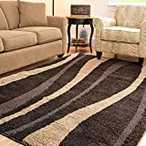 Ultimate Dark Brown/ Cream Shag Rug (6' 7'' Square)