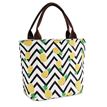 50bd1739b32f Pineapple Lunch Bags for Women Insulated Lunchbox Thermal Cooler Bag  Reusable Lunch Tote Bag for School/Work/Fishing/Picnic