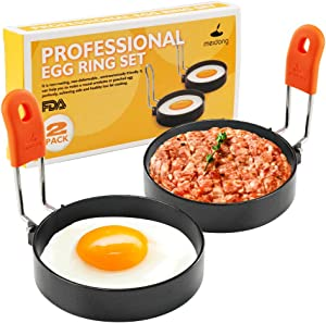 Stainless Steel Egg Rings, Round Breakfast Household Mold Tool Cooking, Non Stick Circle Shaper Egg Rings For Frying Meat Pie, Sandwiches, Egg Maker Molds Set (2 Pack)