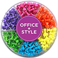 Decorative Multi-Colored Push Pins for Home & Office, Six Colors for Different Projects in Reusable Organizing Container, 240 pieces, By Office Style