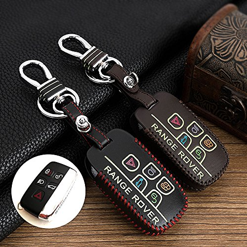 Protecting Bag Leather Smart Key Case Holder Cover Fit For Land Rover Range Rover 5 Buttons Luminous