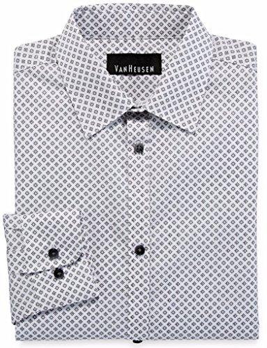 Van Heusen Big Boys' Long Sleeve Diamond Dot Print Shirt, White, (Dot Print Shirt)