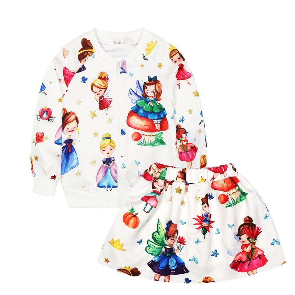 AIKSSOO Little Girls 2Pcs Clothes Cartoon Print Sweatshirt and Skirt Set for Kids