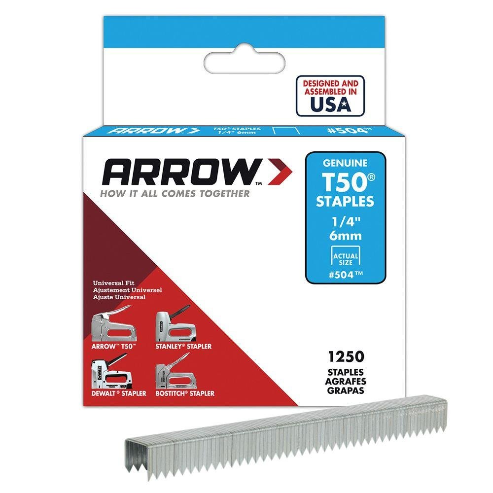Arrow T50 Staples 6mm / 1/4' Pack of 1250 50424