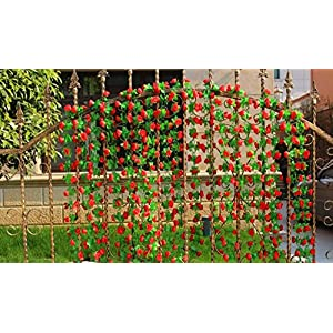 2pcs/lot 6.2FT(190CM) Artificial fake plastic Rose Silk Flower garland ivy Leaf Vine Foliage Home Wall Party Decor Wedding Decal (red) 43