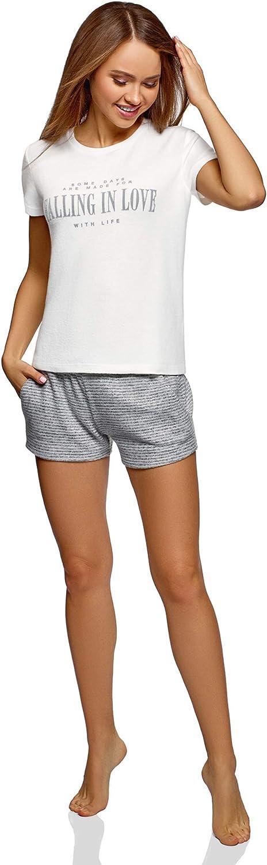 oodji Ultra Damen Gerades Lounge-T-Shirt mit Flock-Schriftzug