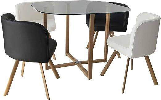 DecoInParis - Conjunto de Mesa y 4 sillas encajables: Amazon.es: Hogar