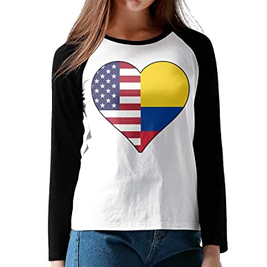 364cea00a2e Womens Classic Raglan Long Sleeve T Shirts Half Colombia Flag Half USA Flag  Love Heart Round-Neck Jersey Shirt for Women at Amazon Women's Clothing  store: