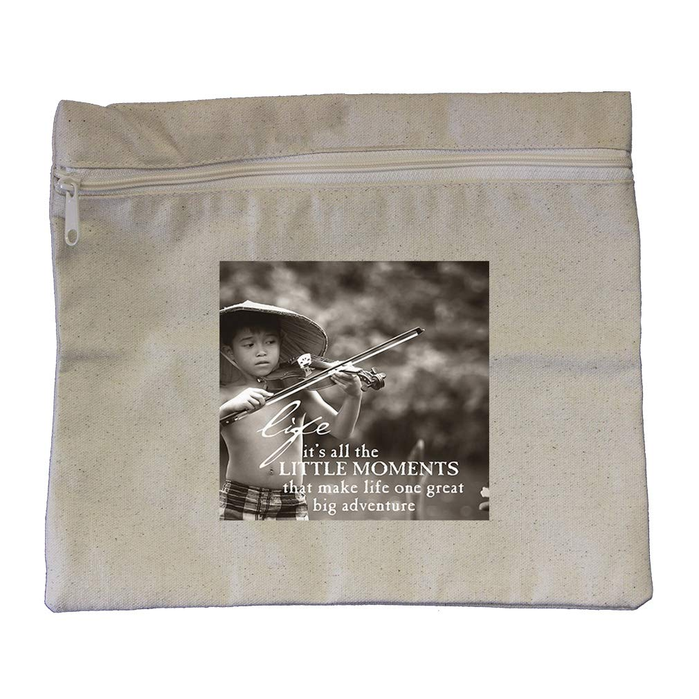 A Countryside Boy to Grace Little Moments Cotton Canvas Zippered Pouch 12''x10''