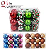 Image of Valery Madelyn 24ct 70mm/2.75inch Delightful Traditional Shatterproof Christmas Ball Ornaments Decoration Red,Green, Silver and White, 24 Pcs Metal Hooks Included, Themed with Tree Skirt(Not Included)