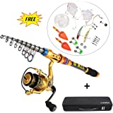 Lixada Fishing Full Kit Spinning Rod and Fishing Reel Combos Set Telescopic Fishing Rod Pole with Reel Line Lures Hooks Fishing Carrier Bag Case Sea Saltwater Freshwater Fishing Gear