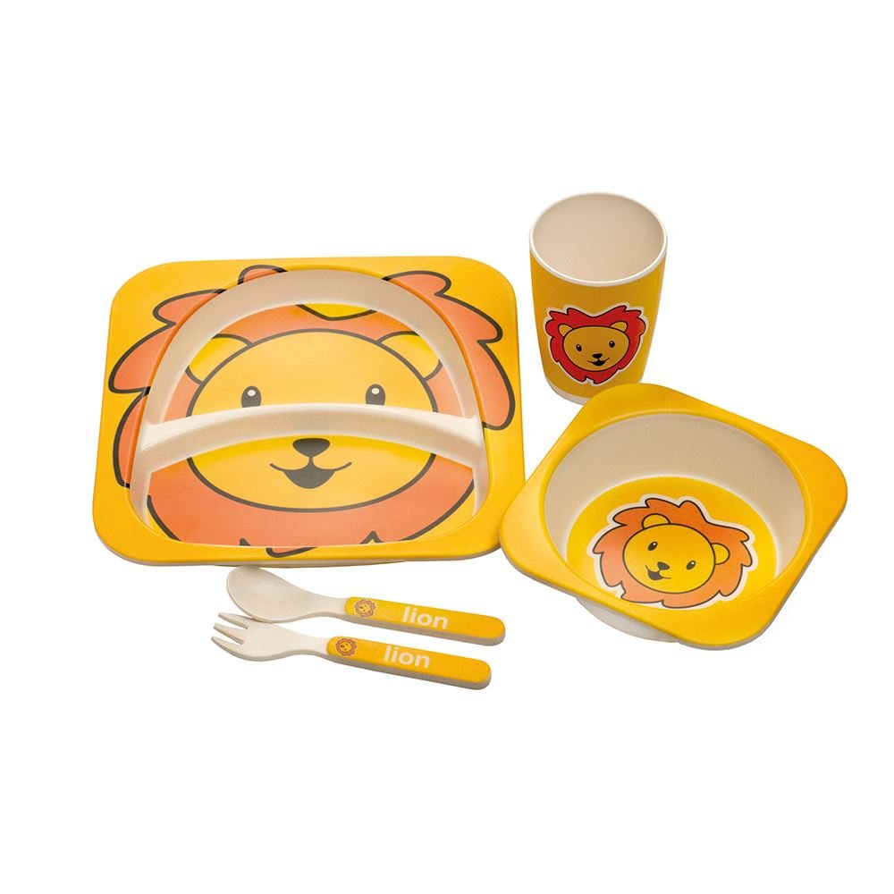 Epicurean Kids BPA Free Eco Bamboo 5 Piece Break Resistant Dinner Set in Lion Design