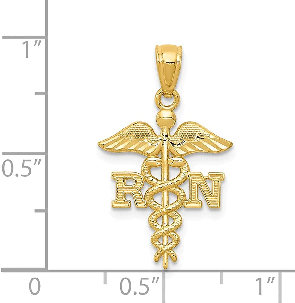 Beautiful Yellow gold 14K 14k Diamond-cut RN Pendant