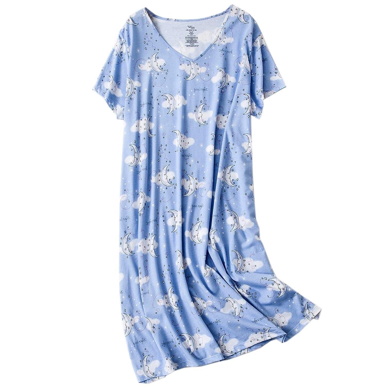 7b068b7f7f ENJOYNIGHT Womens Cotton Sleepwear Short Sleeves Print Sleepshirt Sleep Tee