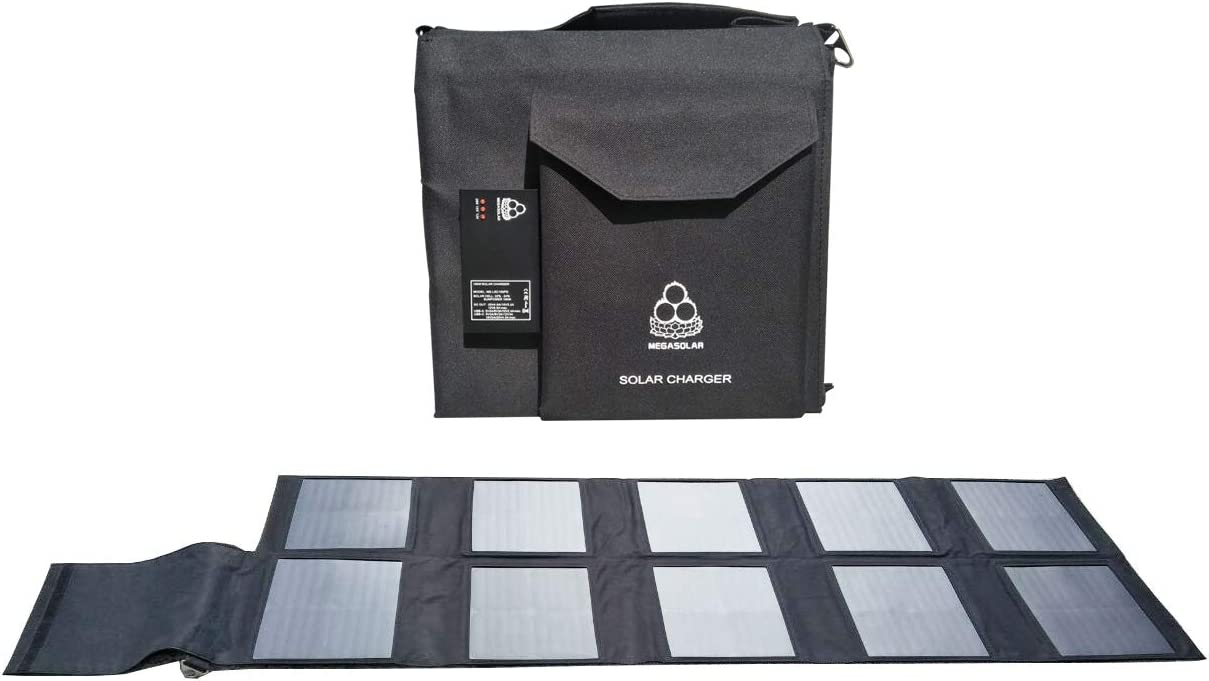 MEGASOLAR 100W Solar Charger Solar Panel with Solar Controller USB Type-C PD 90W and Quick Charge 3.0, and DC 12v 15v 20v Output, for Charging Laptop, MacBook Pro, Solar Generator, PD Type-C