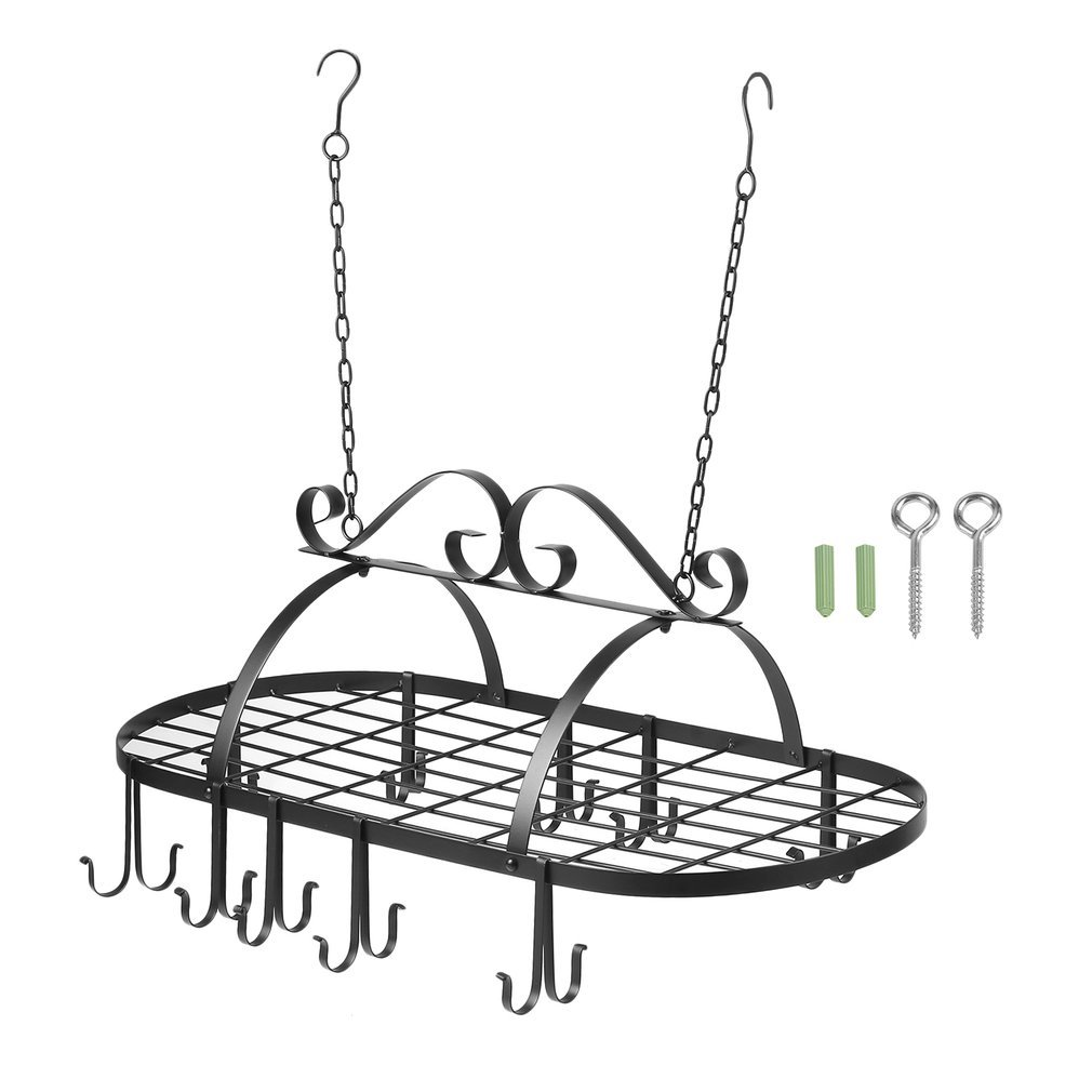 Homgrace Wrought-Iron Oval Pot Rack, Decorative Oval Mounted Storage Rack — Multi-Purpose Organizer for Home, Restaurant, Kitchen Cookware, Utensils, Books, Household (Hanging Black)