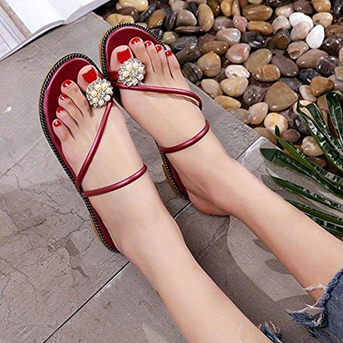 BZLine® Frauen Sommer Strass Schuhe Peep-Toe Low shoes Roman Sandalen Flip Flops Rot