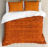 Ambesonne Burnt Orange Queen Size Duvet Cover Set, Rough Texture Close-up Thick Fabric Image Print Country Living Rustic Style, Decorative 3 Piece Bedding Set with 2 Pillow Shams, Burnt Orange