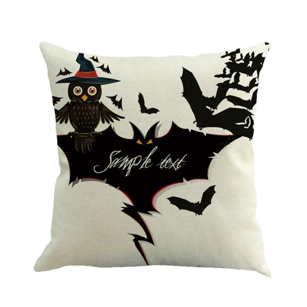 Gotd Vintage Halloween Pillow Covers Decorative Throw Pillow Case Cushion Happy Halloween Decorations Decor Clearance Indoor Outdoor Festive Party Supplies (Multicolor C)