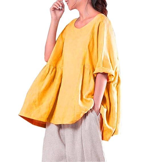 PAOLIAN Blusa de Mujer Baratas Manga Largas Otoño 2018 Blusa Ancho Ropa para Mujer Cuello Redondo Sólido Camisa Camisetas con Volantes Fiesta Camisetas ...