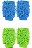 4 pack Microfiber Chenille Mitt Car Washing and Dusting Cleaning Glove, Soft Absorbent, Assorted Colors