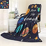 Quotes Custom Blanket By Nalohomeqq Cute Outer Space Planets And Star Cluster Solar System Moon And Comets Sun Cosmos Illustration Accessories Multi