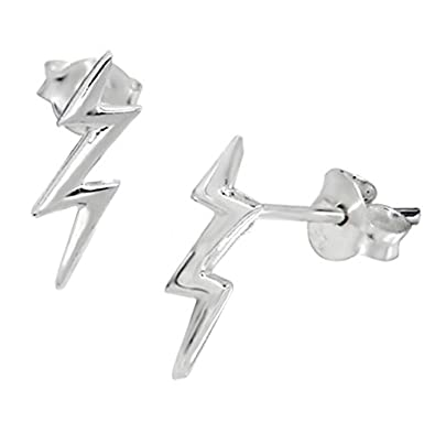 Sterling Silver Lightning Bolt Earrings Gift Amazon Co Uk Jewellery