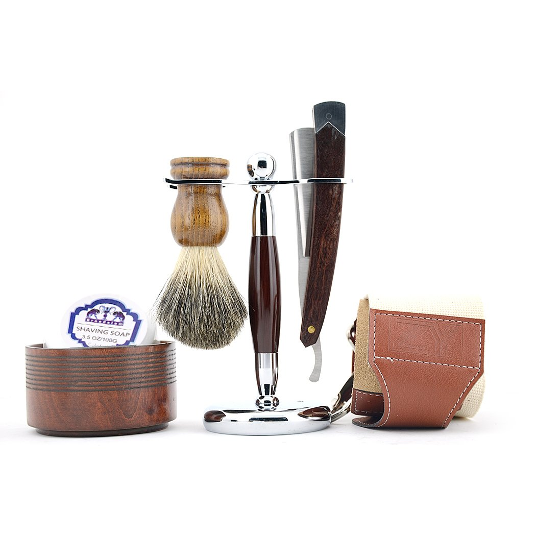 Men Straight ShavingRazor Badger Hair Brush Stand Holder Leather Strop Soap Bowl
