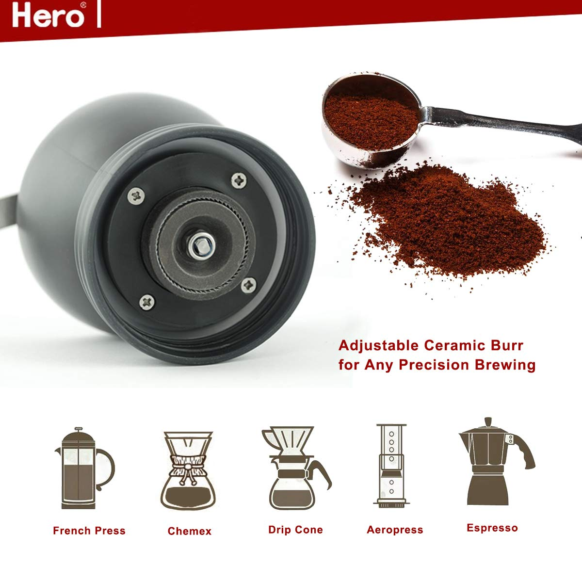 Hero Manual Coffee Grinder-Conical Ceramic Burr Mill,Adjustable Hand Precision Brewing, Black by Hero (Image #5)
